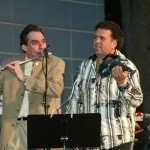 Dave  Valentin, Alfredo de la Fé,  Seuffert Bandshell, Woodhaven, Queens, New York. June 16, 2003, photo by Jerry Lacay.