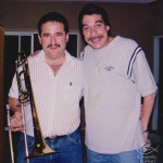 Demetrios Kastaris, Dave Valentin, recording at Skylight Studio, Bellville, New Jersey. July 1999.