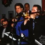 Bottom left, pianist and Salsa Legend, Larry Harlow (El Judillo Maravilloso), of the Fania All Star fame, trombonist Demetrios Kastaris, violinist, Alfredo de la Fé, Birdland Jazz Club, Latin Cool Records CD launching Concert, December 2, 2002, (photo credit Louis Laffitte).