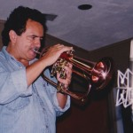 Claudio Roditi, Jazz trumpet and flugelhorn virtuoso, Skylight Studio, Belleville, New Jersey. July, 1999, photo credit, Hilda Kastaris.