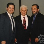 Left to right, Demetrios Kastaris, Tito Puente, pianist Dr. William Rodriguez, Founder and original Principal of the Celia Cruz School of Music in the Bronx, New York, concert held at the Architect's and Designer's Building, Manhattan, New York, September 30, 1999, photo by Ito Rodriguez.