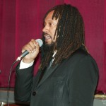 Concert producer, Clyde Bullard, Katharí debut concert at Flushing Town Hall, Flushing Queens, New York, December 10, 2010, photo by Norm Harris.