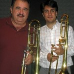 "Demetrios Kastaris and trombone virtuoso Achilles Liarmakopoulos, pause for a photo while recording ""Te Exaltamos con Trombones"" in Denville, New Jersey. July, 2010. Photo credit, Hilda Kastaris."