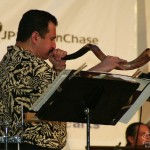 Demetrios plays the Shofar, Seuffert Bandshell, Woodhaven, Queens, New York, June 16, 2003, photo by Jerry Lacay.