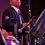 Bongo and Cowbell player, Ramon Tineo, debut concert of Katharí, Flushing Town Hall, Flushing Queens, New York, December 10, 2010, photo by Norm Harris.