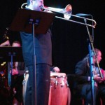 "Demetrios Kastaris performs at ""Latin Jazz, la Combinación Perfecta"", Flushing Town Hall, Flushing, Queens, New York, April 9, 2003. Photo by Jerry Lacay."