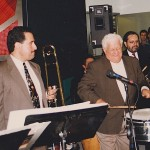 Left, Demetrios Kastaris, right, Latin music legend, (timbalero) Tito Puente.