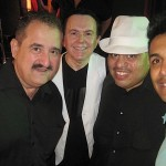 "Left to right, Demetrios, Sammy Navarro (Christian Salsa singer), Franky Guadalupe (leader of Franky N"" Friends), Christian Salsa singer David Angel."