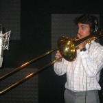 "Achilles Liarmakopoulos records ""Te Exaltamos con Trombones"" with Demetrios Kastaris in Denville, New Jersey, photo by Demetrios Kastaris."