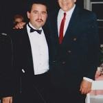 Left, Demetrios Kastaris, right Latin music legend, Grammy award winner, conguero, Ray Barretto.  Flushing Town Hall, Flushing, Queens, New York. Opening night of Jazz Cafe.