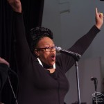 Singer Dawn Tallman builds up the energy! Katharí Record Release Concert at the Langston Hughes Community Library and Cultural Center in Corona Queens, November 2, 1013, photo by Norm Harris.