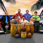 Debut Concert Promotion Art, Conjunto Katharí, Flushing Town Hall, December 10, 2010. Art done by Euripides Kastaris. Top row, left to right, Steve Turre, Yiannis Economides, Sammy Navarro, Theofilos Katechis, kneeling behind conga drums, Demetrios Kastaris.