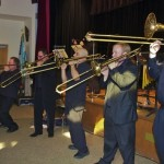 Trombones ROAR unto Glory! Left to right, Demetrios Kastaris, Charley Garcia, Rafi Malkiel, Matthew McDonald, far right on bass trombone: James Rogers. Katharí Record Release Concert at the Langston Hughes Community Library and Cultural Center in Corona Queens, November 2, 1013, Photo by Norm Harris.
