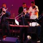 Bottom row, left to right, Noah Bless, Demetrios Kastaris, Steve Turre, top row: Connie Grossman, Alí Bello, Alfredo de la Fé.