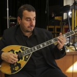 Kostas Psarros, bouzouki player, Katharí Record Release Concert at the Langston Hughes Community Library and Cultural Center in Corona Queens, November 2, 1013, photo by Norm Harris.