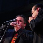 Conch shell duet, Demetrios, left, Steve Turre, right, at the Katharí Debut concert at Flushing Town Hall, Flushing Queens, New York, December 10, 2010, photo by Norm Harris.