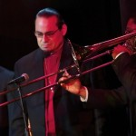 Left to right, trombonists Noah Bless, Steve Turre, Dr. Terry Greene at the Katharí Debut Concert at Flushing Town Hall, Flushing Queens, New York, December 10, 2010, photo by Norm Harris.