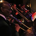 Left to right, bass trombonist Ray Campos, trombonists David Russell and Dr. Terry Greene at the Katharí Debut concert at Flushing Town Hall, Flushing Queens, New York, December 10, 2010, photo by Norm Harris.