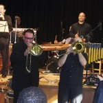 Trombones FIRE IT UP! Bottom row, left to right, Demetrios Kastaris, Charley Garcia, Rafi Malkiel, Matthew McDonald, Katharí Record Release Concert at the Langston Hughes Community Library and Cultural Center, November 2, 1013, photo by Norm Harris.