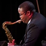 Melvin Smith, tenor saxophone, performing at the Katharí Debut concert at Flushing Town Hall, Flushing Queens, New York, December 10, 2010, photo by Norm Harris.