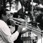Steve Turre, Demetrios Kastaris, Seuffert Bandshell, Forest Park, Woodhaven, Queens, New York. June 26, 1993. Photo by Kathy Izzo.
