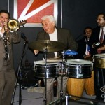Left to right, Freddy Zanella, bass, Demetrios Kastaris, trombone, Tito Puente, timbales, Angel Rodriguez, conga drums, Victor Rendón, cowbell. Architect's and Designer's Building, Manhattan, New York, September 30, 1997, photo by Ito Rodriguez.