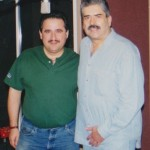 "Left, Demetrios Kastaris, right, percussionist, bongo player, manager of the Tito Puente Orchestra, Johnny ""Dandy"" Rodriguez, recording at Skylight Studio, Belleville, New Jersey. September, 1999."