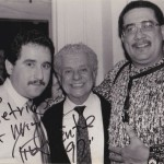 Left to right, Demetrios Kastaris, Tito Puente, Paquito D'Rivera, Village Gate, February 27, 1990. Photo credit: Hilda Kastaris.