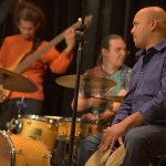 Bam Bam Rodriquez, Alez Garcia, and  Ramon Tineo performing wityh Conjunto Katharí at the Langston Hughes Community Library and Cultural Center Saturday, October 18, 2015.