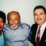 Radio Personality, Nancy Rodriguez, Latin Music Legend, Multi-Grammy Winner, Pianist, Eddie Palmieri, Demetrios Kastaris, Flushing Town Hall, Flushing, Queens, New York, September 21, 2001, photo credit, Hilda Kastaris.