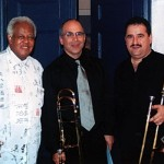 Jazz trombone legend, Slide Hampton, Joe Alessi, Principal, trombonist of the New York Philharmonic, Demetrios Kastaris, The Mannes School of Music, Manhattan, New York. January, 2003.