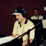 Multi-Grammy winner Oscar Hernandez (founder and leader of the Spanish Harlem Orchestra) records with Demetrios Kastaris at Skylight Studio, Bellville, New Jersey. July 1999.
