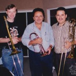 Left to right, Pete McGuinness, Claudio Roditi, Demetrios Kastaris, Skylight Studios, Belleville, New Jersey. July, 1999, photo credit, Hilda Kastaris.