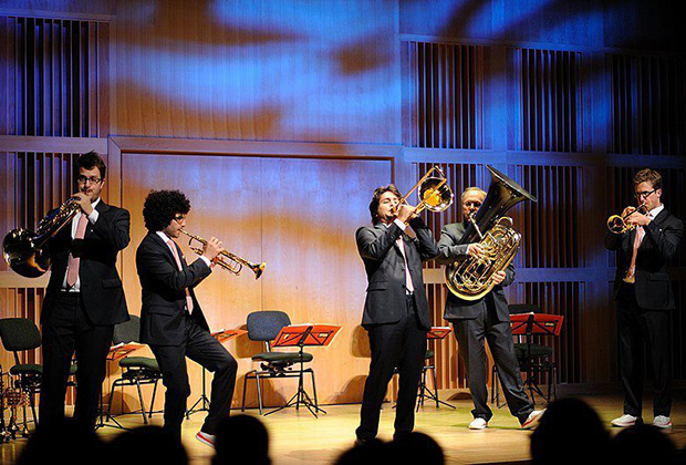 On stage with fellow Canadian Brass members