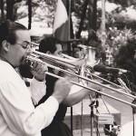 Trombonists Steve Turre and Demetrios Kastaris in concert,  Seuffert Bandshell, Woodhaven, Queens, New York, photo credit Kathy Izzo