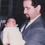Demetrios Kastaris holds his  new borm niece, Georgia Kastaris, November, 1987, St. Louis Missouri
