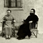 "Presvitera (title of priest's wife) Georgia Kastaris and her husband, Reverend Panagiotis Kastaris, resting outside of their home in Thessaloniki, Greece in the late 1950's. Thessaloniki is a Bible city. The Apostle Paul wrote the Books of First Thessalonians and Second Thessalonians to the Christian Church of Thessaloniki, Greece in the New Testament. (Actually in English the correct form is Thessalonika, but I am so used to the Greek word ""Thessaloniki"")."