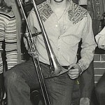 Demetrios, playing the trombone in the Affton High School Band, 1976, Affton, St. Louis, Missouri.