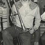 Demetrios, playing the trombone in the Affton High School Band, 1976, Affton, St. Louis, Missouri.