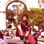 Demetrios Kastaris, on a break from classes at New York University, Washington Square Park, Greenwich Village, lower Manhattan, New York, 1979.