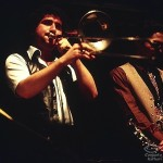 Left, Demetrios playing the trombone, right, tenor saxophone player Dan Nigro, performing in a Jazz recital together at New York University, 1980.