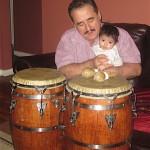 Demetrios teaching congas to his granddaughter, Carmen, December 2015