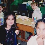 Kathryn (in black sweater) attending classes in elementary school at the South Shore Christian School in Nassau County, Long Island, New York.