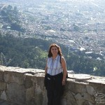 Hilda Kastaris on the top of the mountain of Monserrate, in Bogotá, Colombia. What a beautiful panorama of the capital city below!