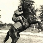 Panagiotis Kastaris as an officer (Lieutenant) on his horse in Kozani, Greece, Early 1950's.
