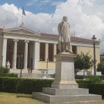 The Statue of British Prime Minister William Ewart Gladstone (December 1809 – May 1898) in front of the National and Kapodistrian University of Athens, photo credit: Demetrios  Kastaris, September, 2014.