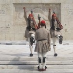 Evzones, traditional soldiers at the changing of the guard every hour, on the hour, at the tomb of the un-known soldier in Athens, Greece. Centrally located at Sindagma Square (Constitution Square). The Evzones are also known as the Tsioliáthes, Athens, Greece, photo credit: Demetrios Kastaris, September, 2014.