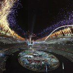 Stadium Fireworks at the 2004 Olympic Games in Athens, Greece.