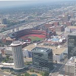 Panoramic view of down town St. Louis. Photo taken from a window atop the  Gateway Arch, St. Louis, Missouri, Photo credit, Demetrios Kastaris, September, 2015